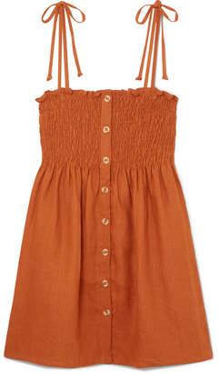 Faithfull The Brand Rosa Smocked Linen Mini Dress - Camel