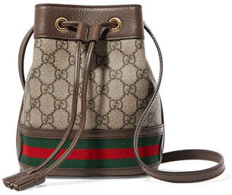 Gucci Ophidia Mini Textured Leather-trimmed Printed Coated-canvas Bucket Bag - Brown