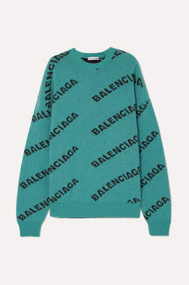 Balenciaga Oversized Intarsia Wool-blend Sweater - Turquoise