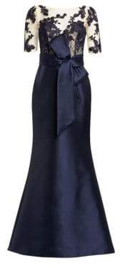 Badgley Mischka Women's Lace Sleeve Gown - Navy - Size 8