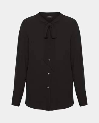 Theory Weekender Tie-Neck Shirt