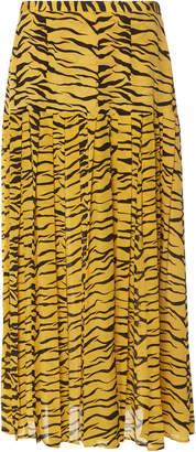 RIXO Tina Animal-Print Pleated Silk Midi Skirt