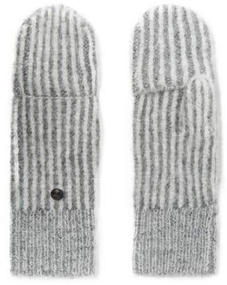 Rag & Bone Jonie Striped Ribbed-knit Mittens - Gray