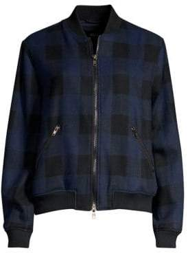 Rails Women's Bolton Buffalo Check Bomber Jacket - Navy Buffalo Check - Size XS