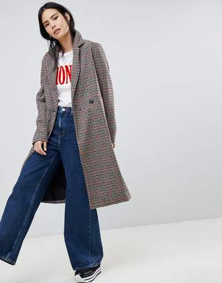 Bershka check car coat in multi
