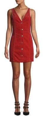 Miss Selfridge Corduroy V-Neck Pinafore Dress
