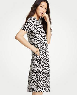 Ann Taylor Cheetah Dot Pocket T-Shirt Dress