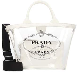 Prada Printed leather-trimmed PVC tote
