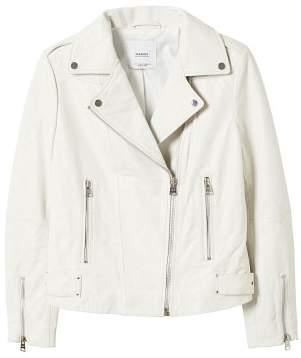 MANGO Zipper leather biker jacket