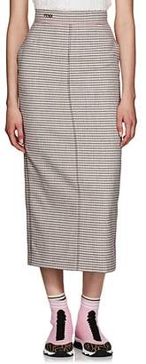 Fendi Women's Checked Wool Midi-Skirt - Pink