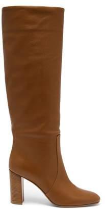 Gianvito Rossi Nappa 85 Stacked Block Heel Boots - Womens - Light Tan