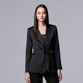Vera Wang Women's Simply Vera Drawstring-Waist Satin Blazer