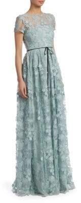 ML Monique Lhuillier Flower Applique Gown