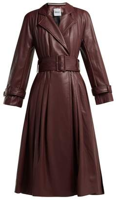 Koché Koche - Belted Faux Leather Trench Coat - Womens - Burgundy