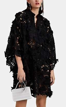 La Vie Style House Women's Crocheted-Flower Mini-Caftan - Black