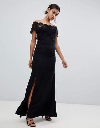 True Decadence lace bardot maxi dress in black