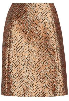 Emporio Armani Women's Animal Jacquard A-Line Skirt - Copper - Size 44 (8)