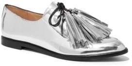 Loeffler Randall Women's Jasper Tassel Metallic Leather Oxfords - Silver - Size 5