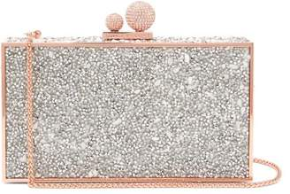 Sophia Webster Clara Crystal Embellished Clutch Bag - Womens - White Silver