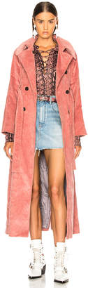 ALEXACHUNG Long Trench Coat in Dusky Rose | FWRD