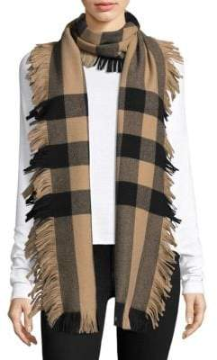 Burberry Women's Half Mega Fringe Wool Scarf - Military Red