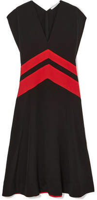 Givenchy Striped Silk Crepe De Chine Midi Dress - Black