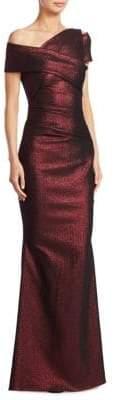Talbot Runhof Women's Metallic Scuba Gown - Copper - Size 2