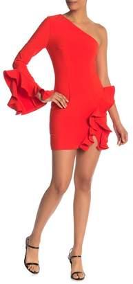 Cinq à Sept Pia Ruffle Trim One-Shoulder Dress