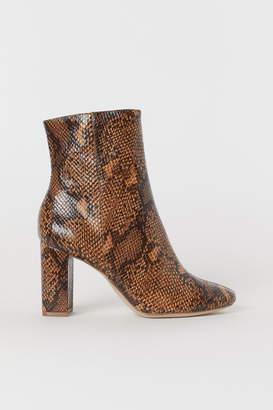 H&M Snakeskin-patterned Boots - Beige