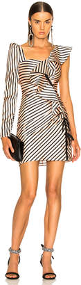 Self-Portrait Self Portrait Striped Flounce Mini Dress in Nude & Black | FWRD