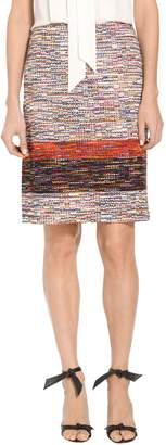 St. John Vertical Fringe Multi Tweed Knit Skirt
