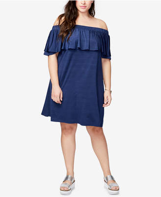 Rachel Roy Trendy Plus Size Ruffled Off-The-Shoulder Dress