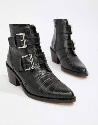 Kurt Geiger London Denny black croc effect black ankle boots with buckle detail