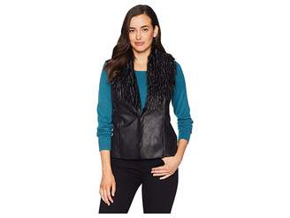 FDJ French Dressing Jeans Faux Suede Fur Collar Vest Women's Vest