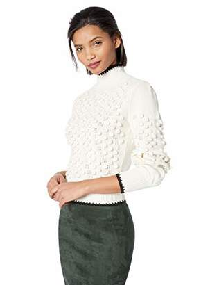 BCBGMAXAZRIA Women's Popcorn Stitch Turtleneck Sweater