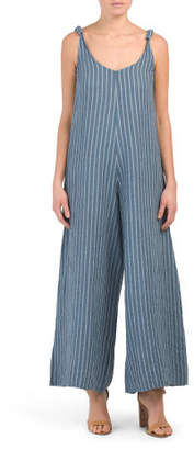Made In Italy Linen Gaucho Jumpsuit