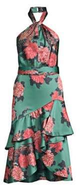 PatBO PatBO Women's Floral Print Tiered Ruffled Halter Dress - Turquoise - Size 4