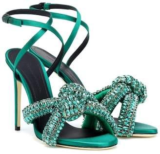Marco De Vincenzo Crystal-embellished satin sandals