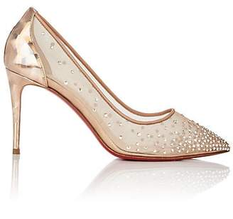 Christian Louboutin Women's Follies Crystal-Embellished Mesh & Leather Pumps - Version Nude