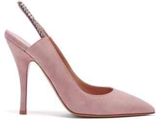 Valentino Crystal Embellished Slingback Suede Pumps - Womens - Light Pink