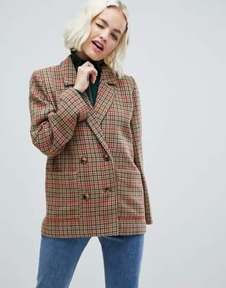 Monki check tailored blazer in brown