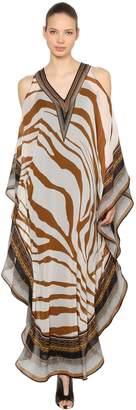 Roberto Cavalli Open Shoulder Silk Chiffon Caftan Dress