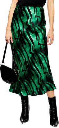 Topshop Tiger Satin Midi Skirt