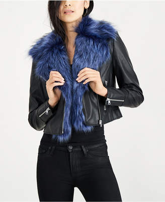 Bar III Removable Faux-Fur-Lined Moto Jacket