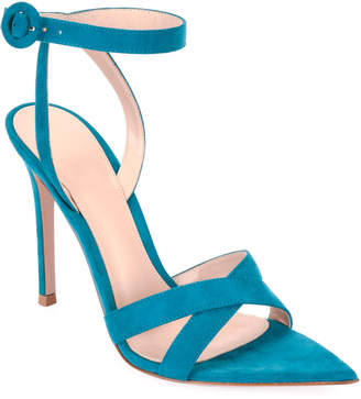 Gianvito Rossi High-Heel Suede Crisscross Ankle-Strap Sandals