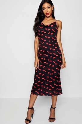 boohoo Cherry Print Cowl Neck Strappy Back Slip Dress