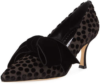 Manolo Blahnik Serba Dotted Velvet Bow Pumps
