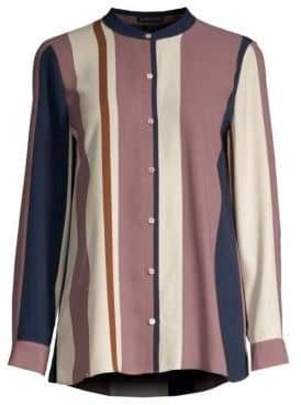 Eileen Fisher Women's Mandarin Collar Silk Shirt - Red Cedar - Size Small