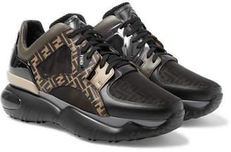 Fendi Logo-Jacquard Mesh, Leather, Pvc And Rubber Sneakers