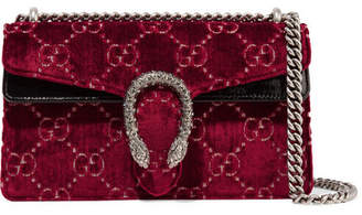 Gucci Dionysus Patent Leather-trimmed Embossed Velvet Shoulder Bag - Red